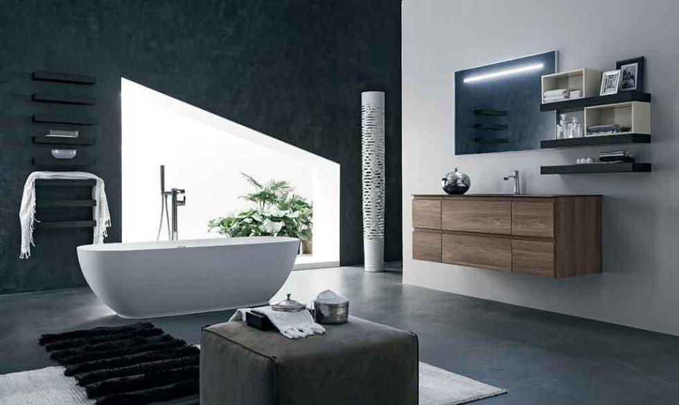 Progetto mobile bagno con mensole
