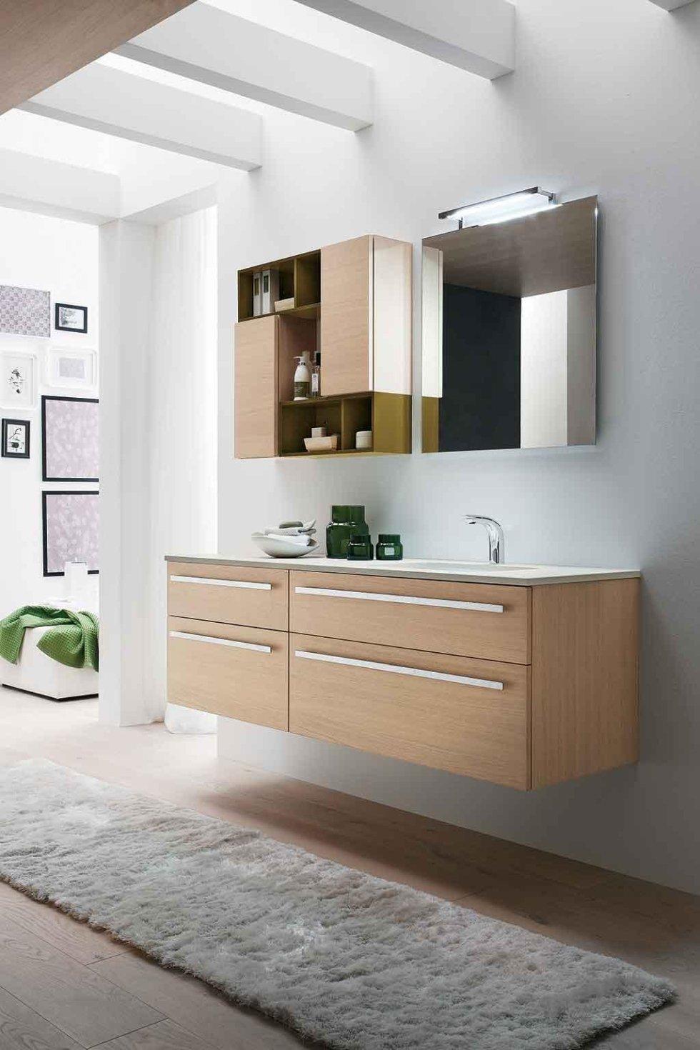 Progetto mobile bagno legno chiaro