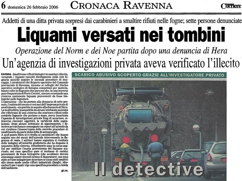 Raccolta prove investigative Ravenna
