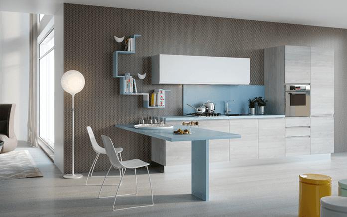 cucina platino e bianco