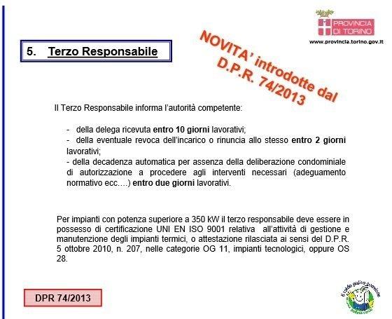NOVITA' INTRODOTTE DAL D.P.R 74/2013