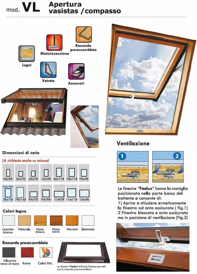 Model VL top hung compass roof windows