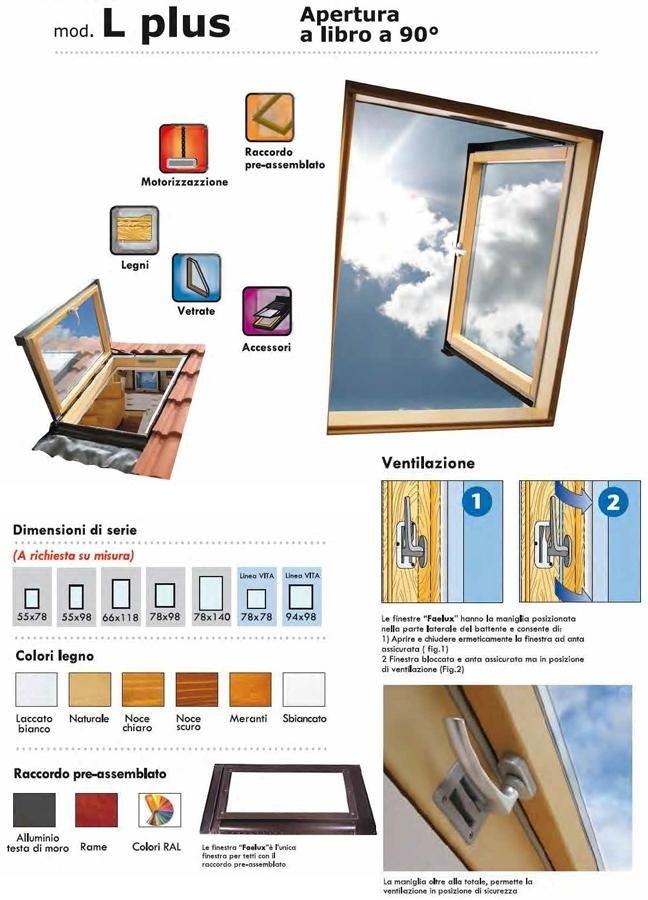 finestre per tetti apertura a libro mod. plus