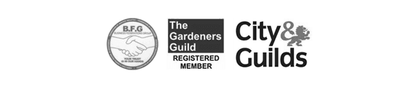 BFG logo, Gardeners Guild logo, and City & Guilds logo
