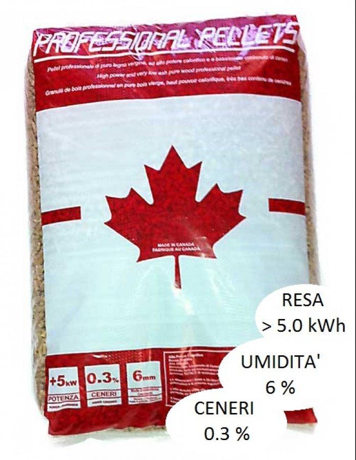 sacco di pellet con bandiera canadese