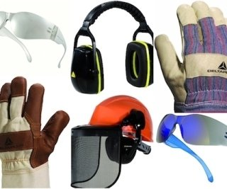 guanti occhiali cuffie da lavoro