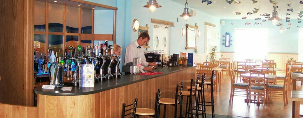 bar counter with wooden slats