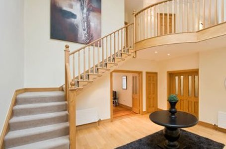 wooden staircase in the house