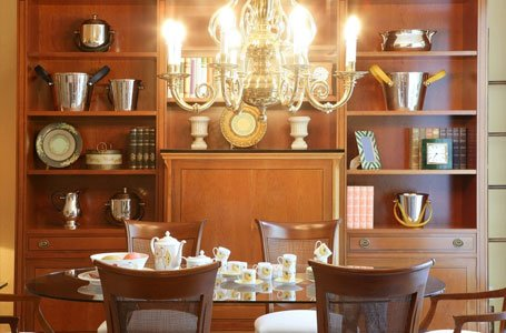 wooden shelves in dining area