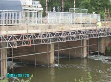 scaffolding under the bridge