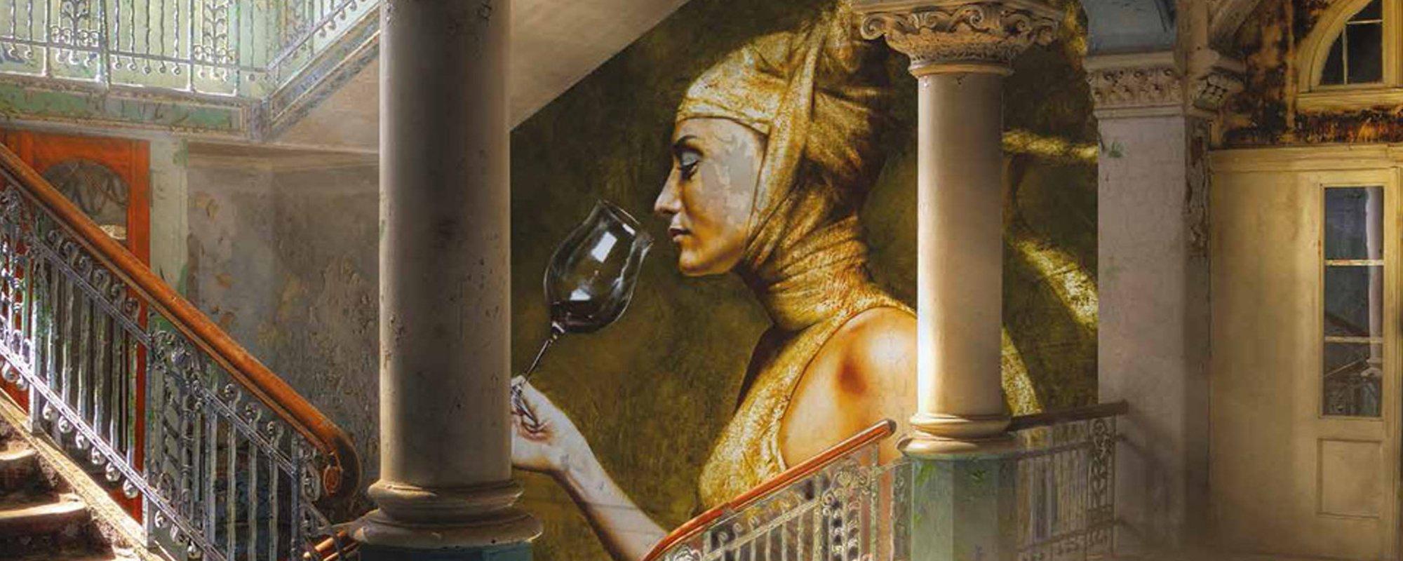 quadro con donna che beve un calice di vino