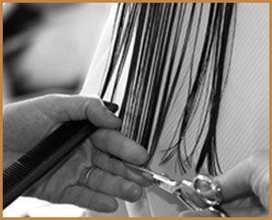 mani di parrucchiere che tagliano i capelli