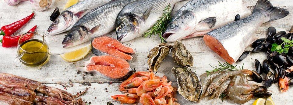 pesce fresco, molluschi e crostacei in esposizione