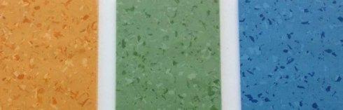 pavimento PVC color beige verde e azzurro