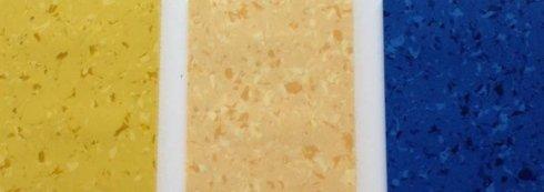 pavimento PVC  sfumature di giallo e blu