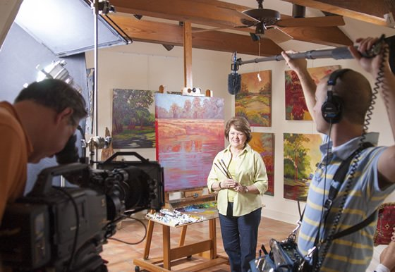 filming a local artist and painter