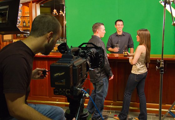 at the bar with green screen