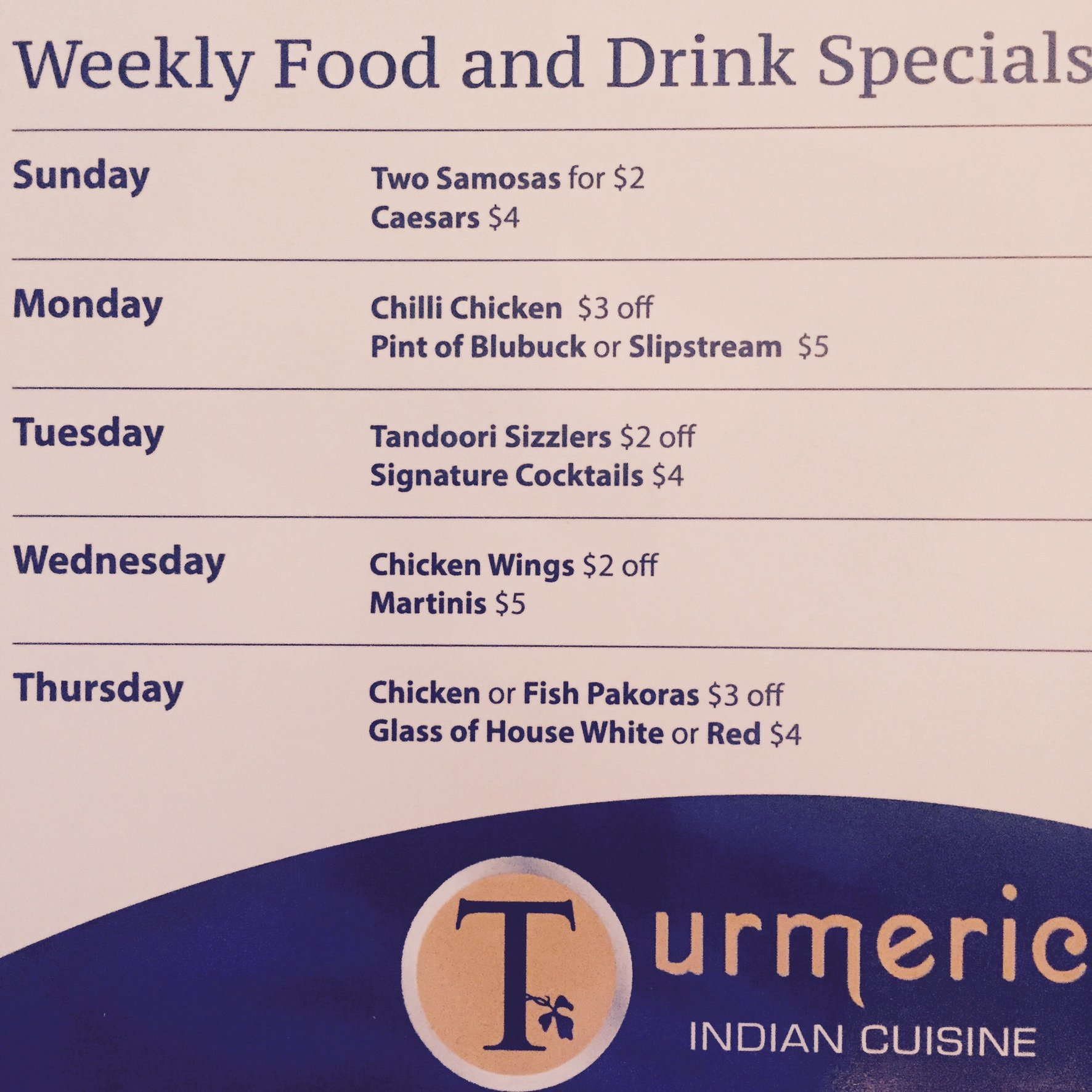 Weekly Food and Drink Specials