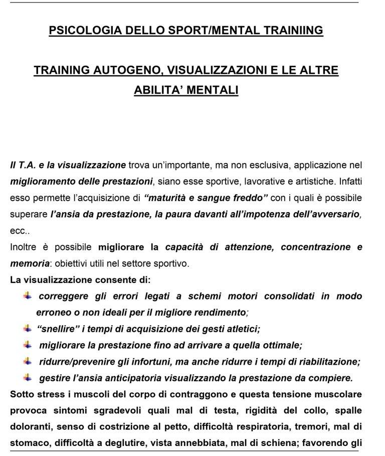 MENTAL TRAINING training autogeno, visualizzazioni e le altre abilità mentali