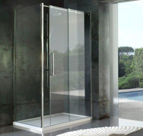 doccia con apertura scorrevole