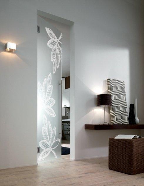 porta in vetro smerigliato e decorato
