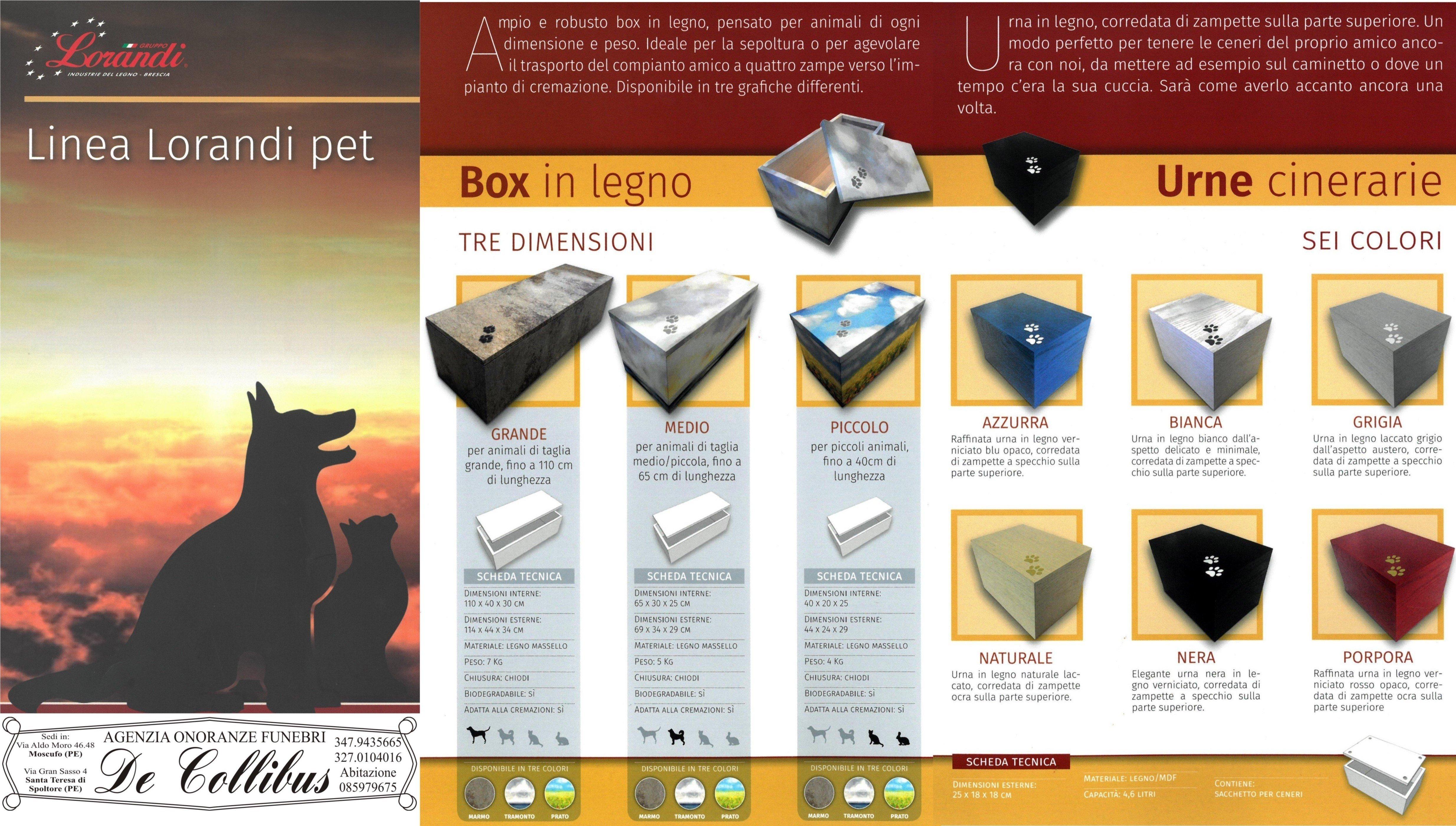 una brochure illustrativa con diversi tipi di bare  e urne cinerarie