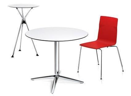 tavolo rotodno con sedia rossa