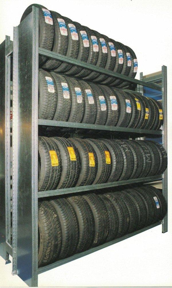 Scaffalatura ad incastro Unizinc porta pneumatici