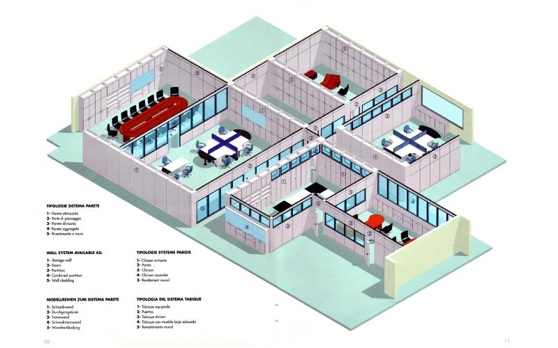 progetto parete ufficio