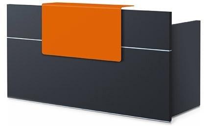 scrivania modello SEDUS grigia con scaffale arancione
