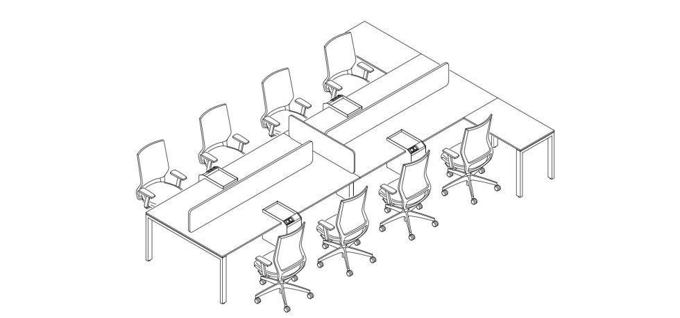 progetto scrivania con 8 postazioni