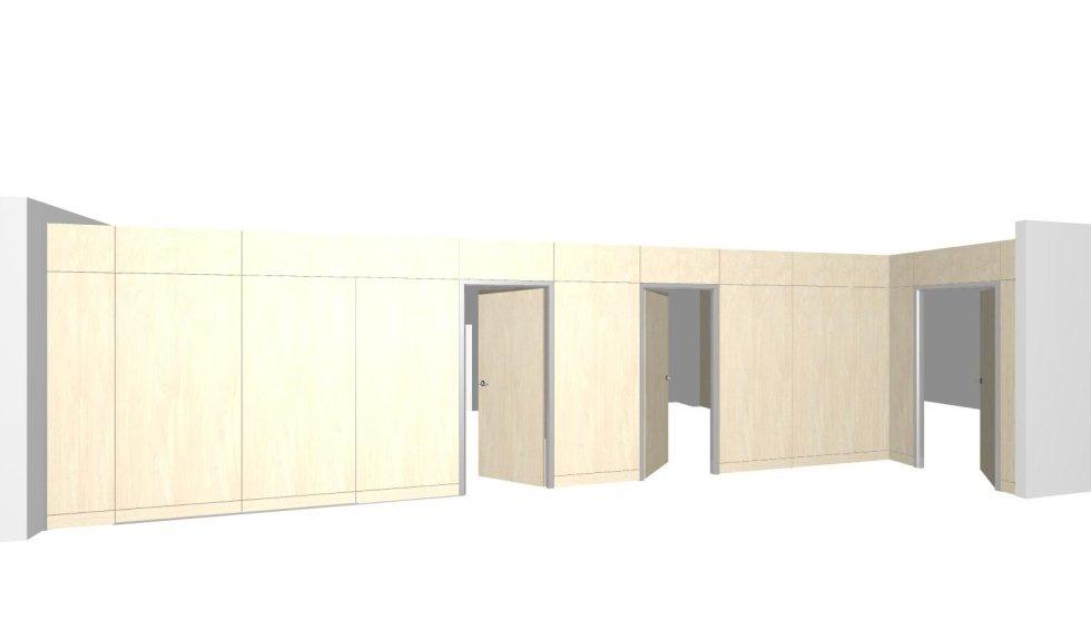progetto parete cieca a quota mm.2500 ( spazio aperto)