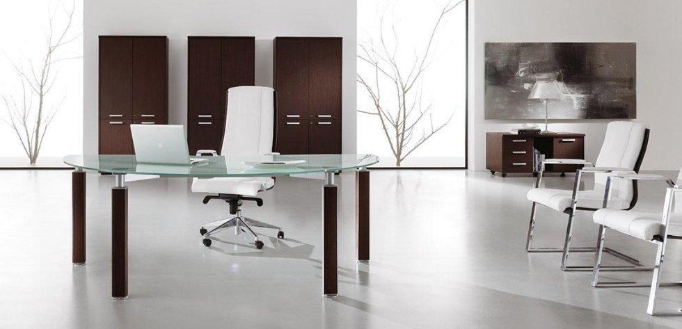 ufficio dirigenziale con tavolo in vetro_linea cubo 2