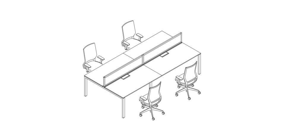 progetto scrivania con 4 postazioni separate