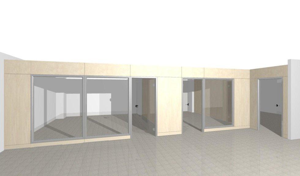Progetto parete vetrata a quota mm.2500 (spazio aperto)