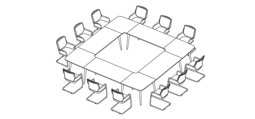 scrivania quadrata per riunioni