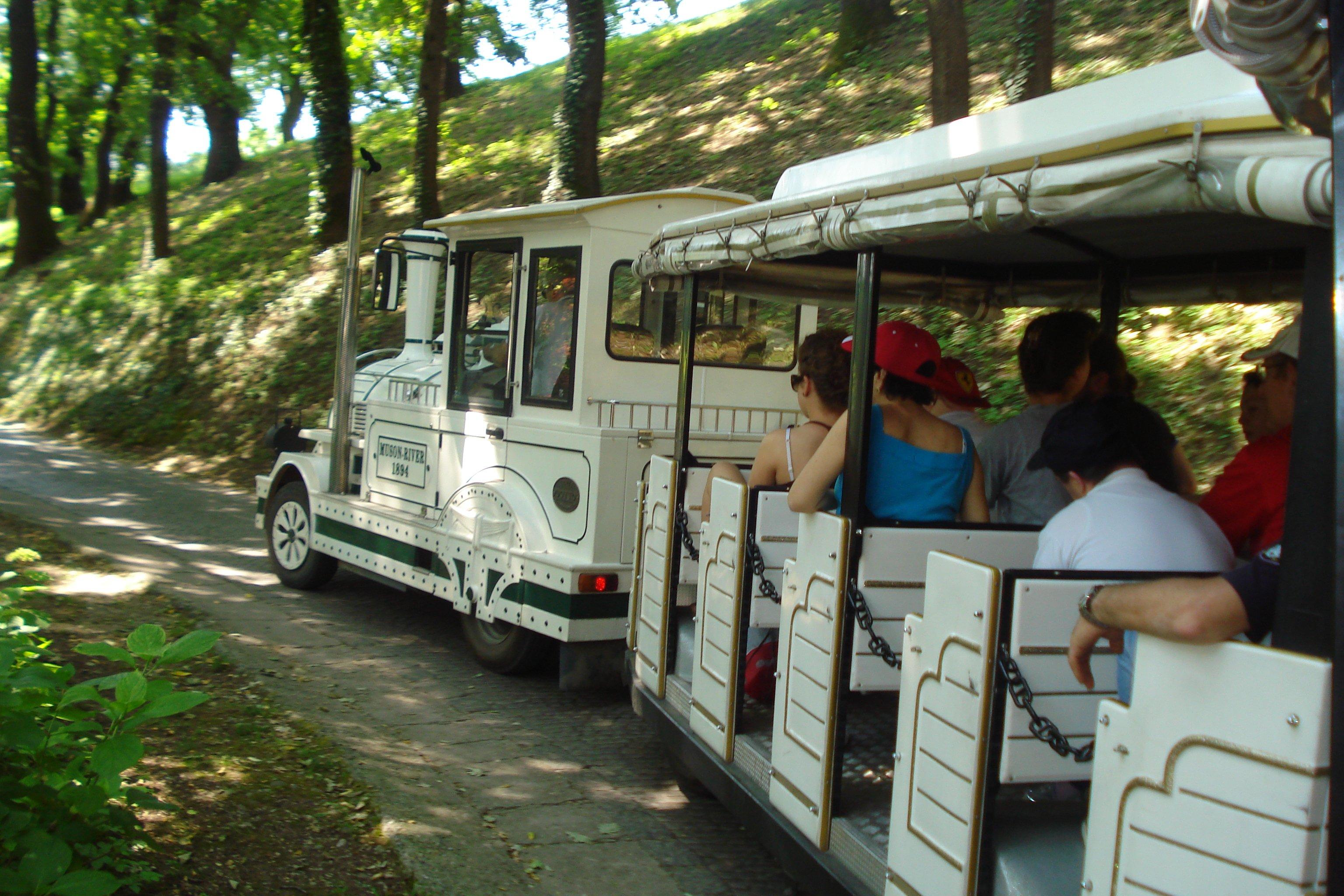macchina-trenino con persone nei vagoni