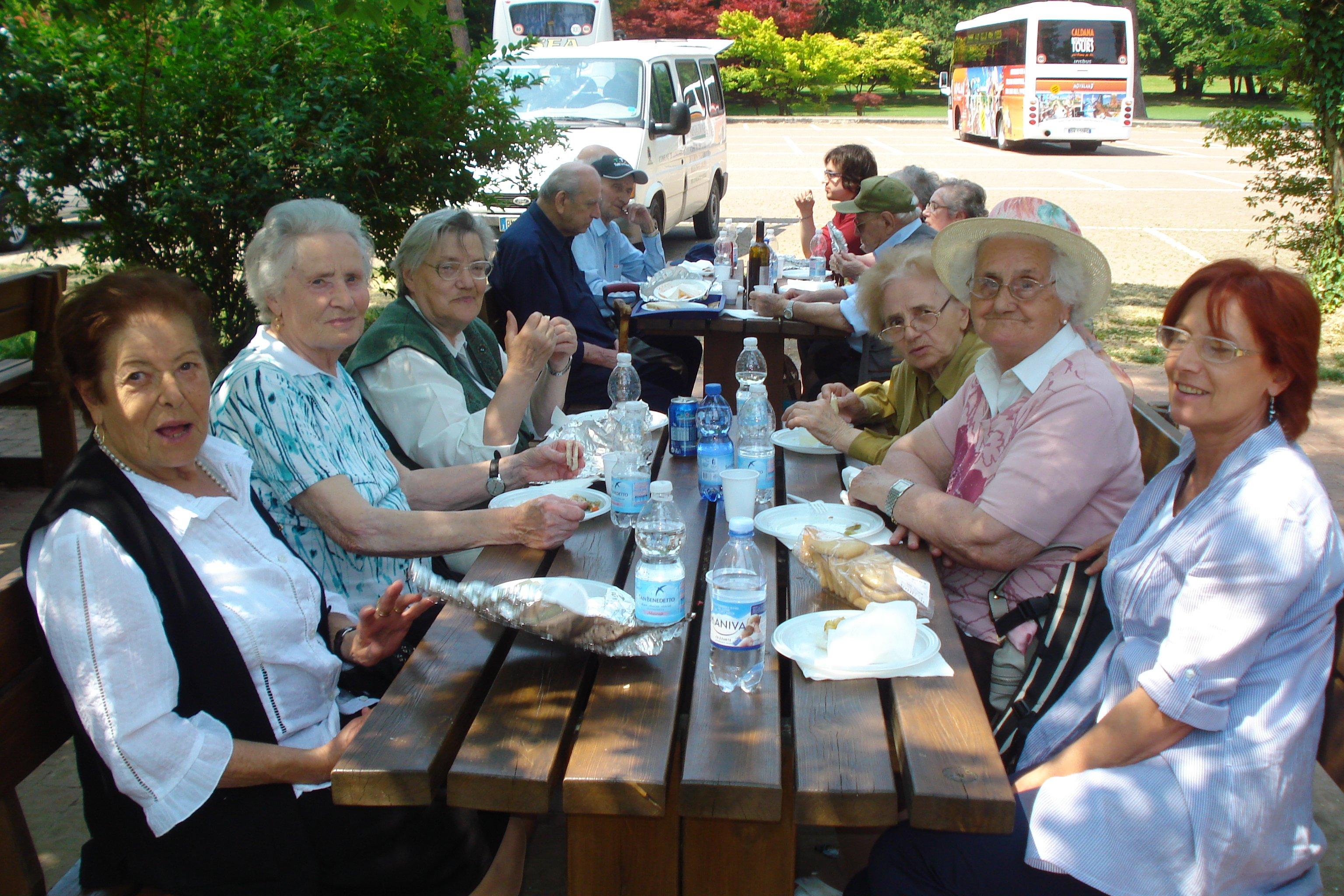 anziani al tavolo durante un pic-nic