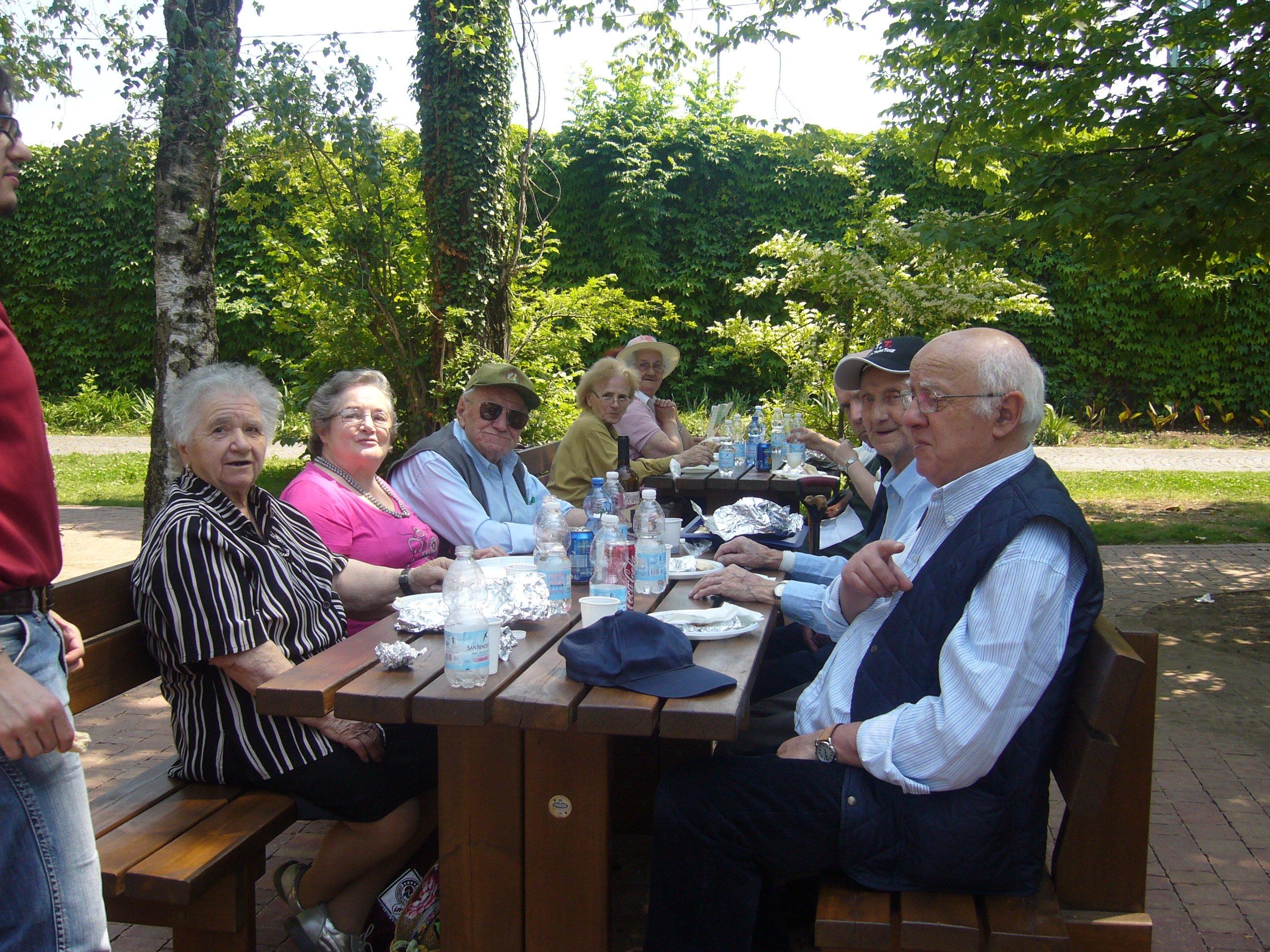 tavolata di anziani in pic-nic