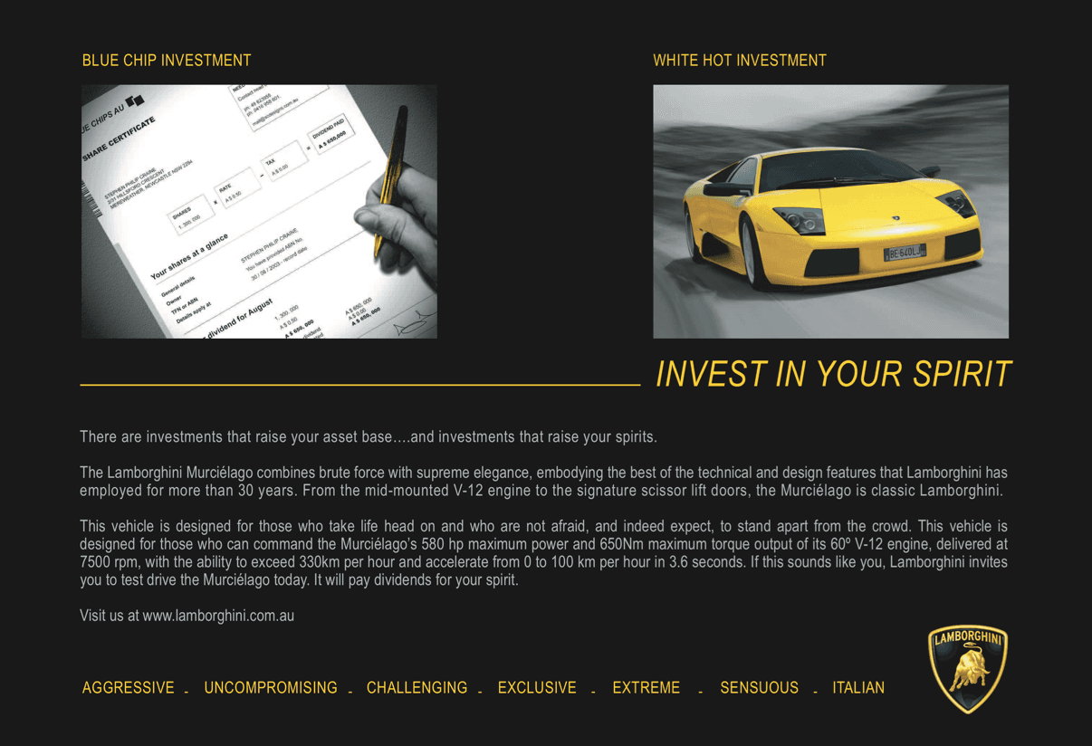 Invest in Lamborghini advertisement