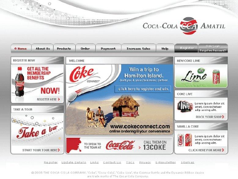 Coca cola amitil  webpage