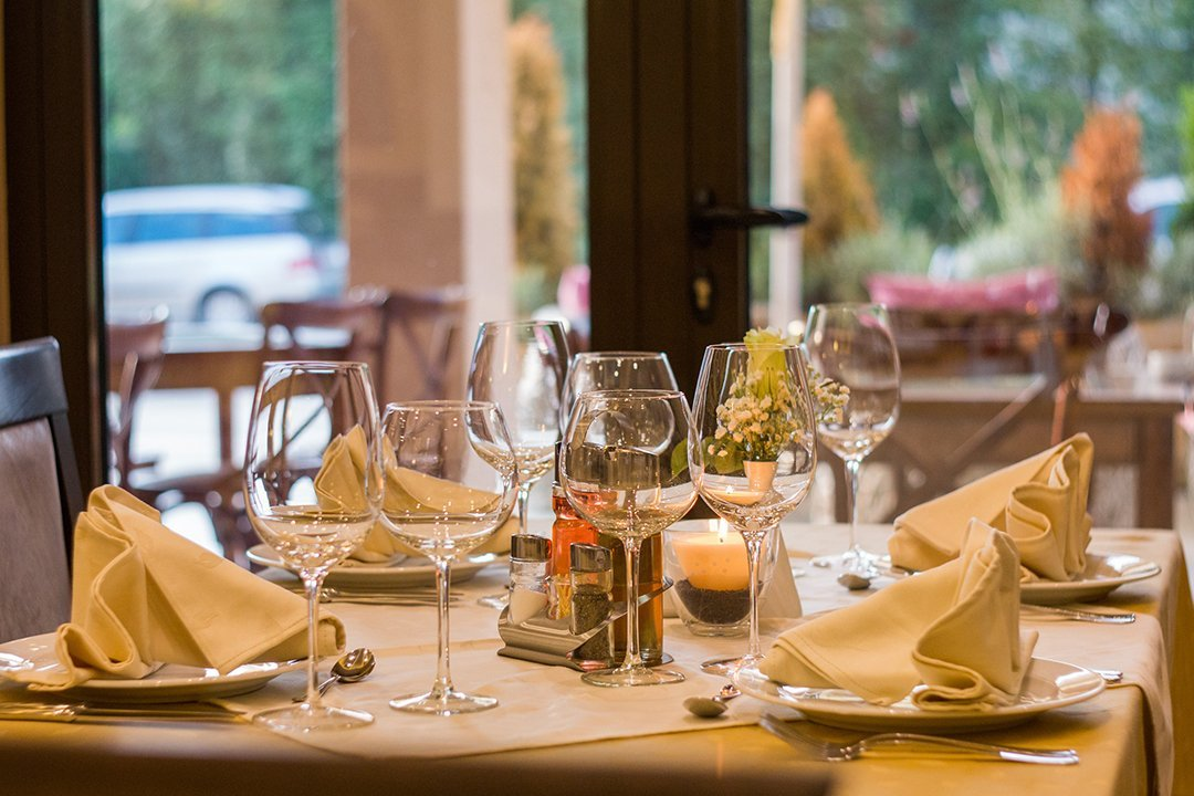 Dinner table at a restaurant