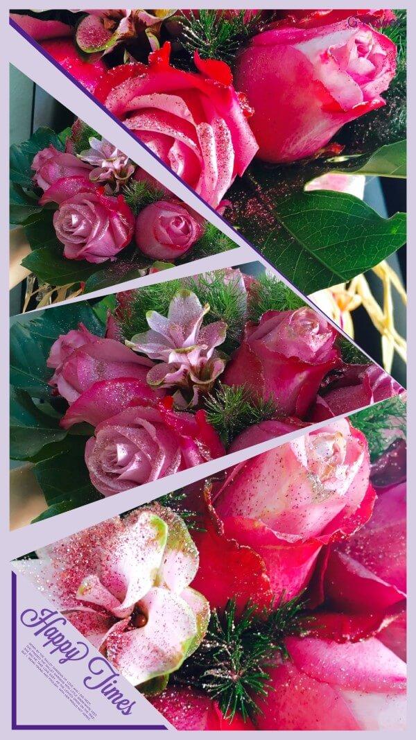 rose rosa con brillantina