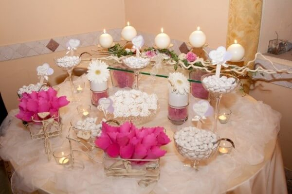 confettata biance e rosa con margherite