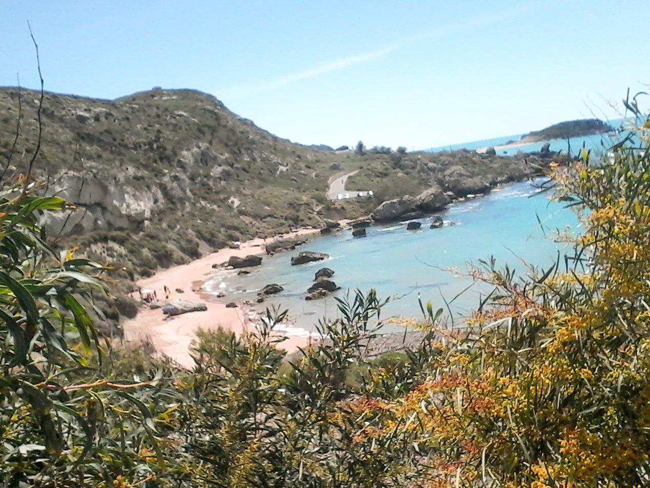 una spiaggia vista da una collina