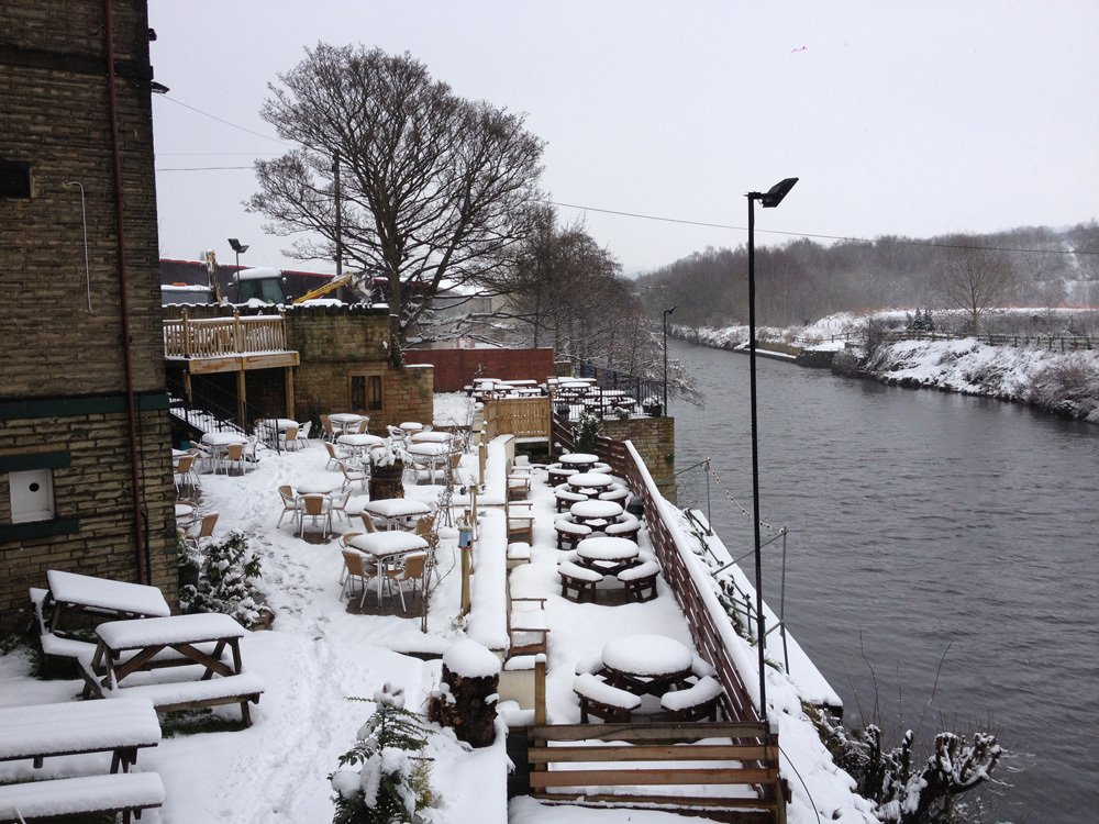 Snow covered seating arangement