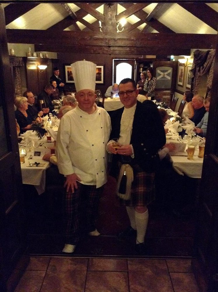 Landlord Alan and Head Chef Dave at our Burns Night celebration