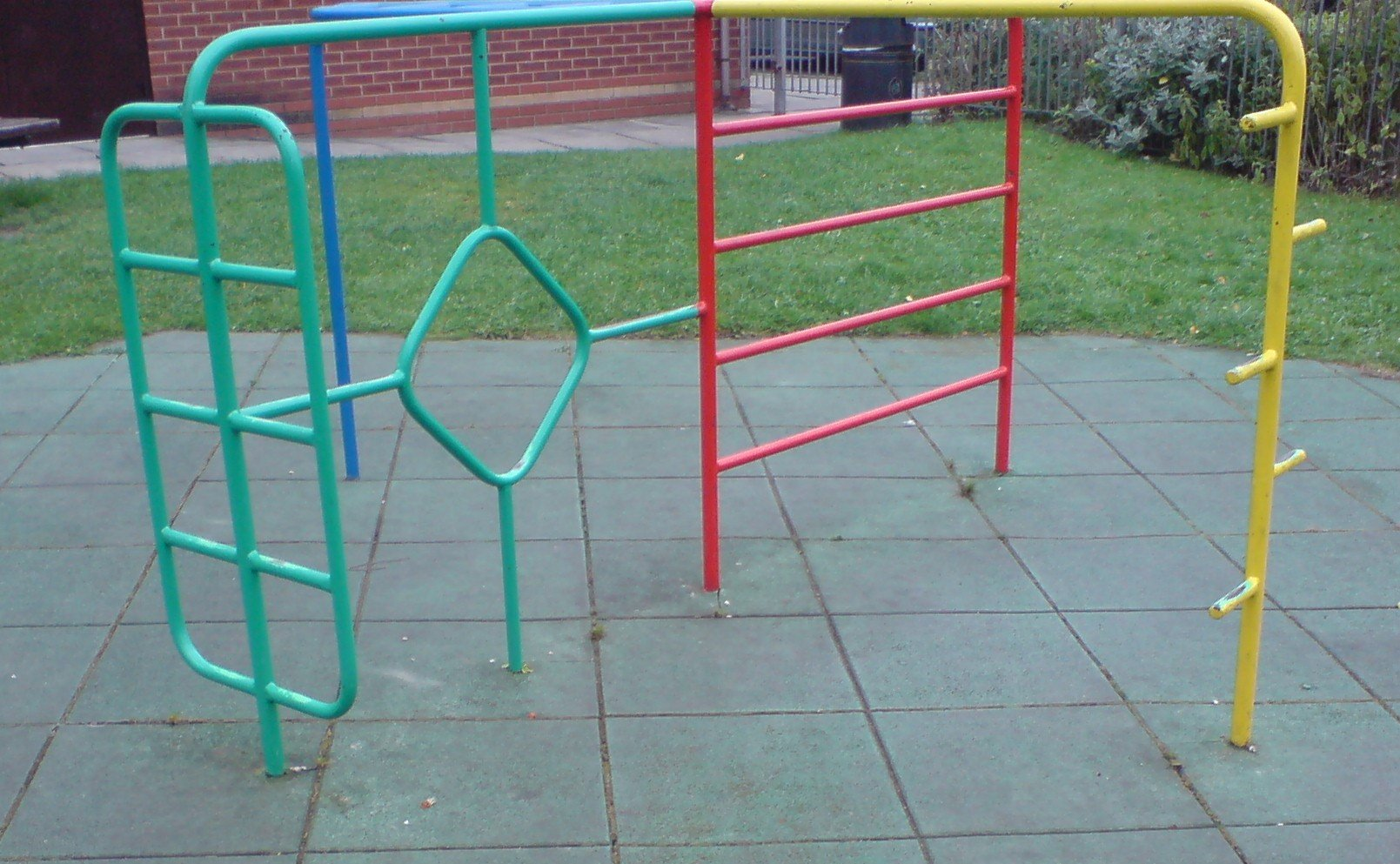 turquoise and red playground frames