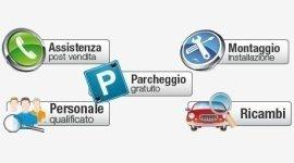 ricambi, parcheggio gratuito, personale qualificato