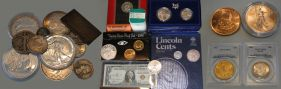 A sellection of collectable coins at high coin values in Oahu, HI